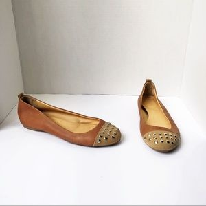 J.Crew 7.5 Brown Gold Stud Flats Rounded Toe 36304